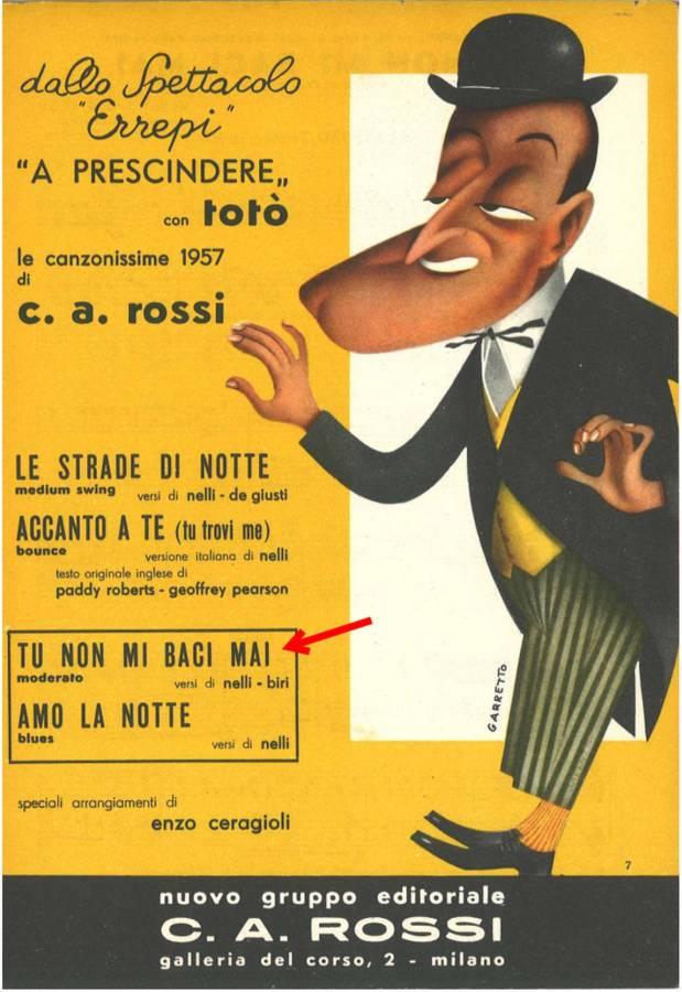 tu non mi baci mai (portafortuna 1957)_c. a. rossi_c.a.r.